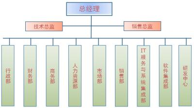 公司组织架构:公司由总经理-技术总监-销售总监带领